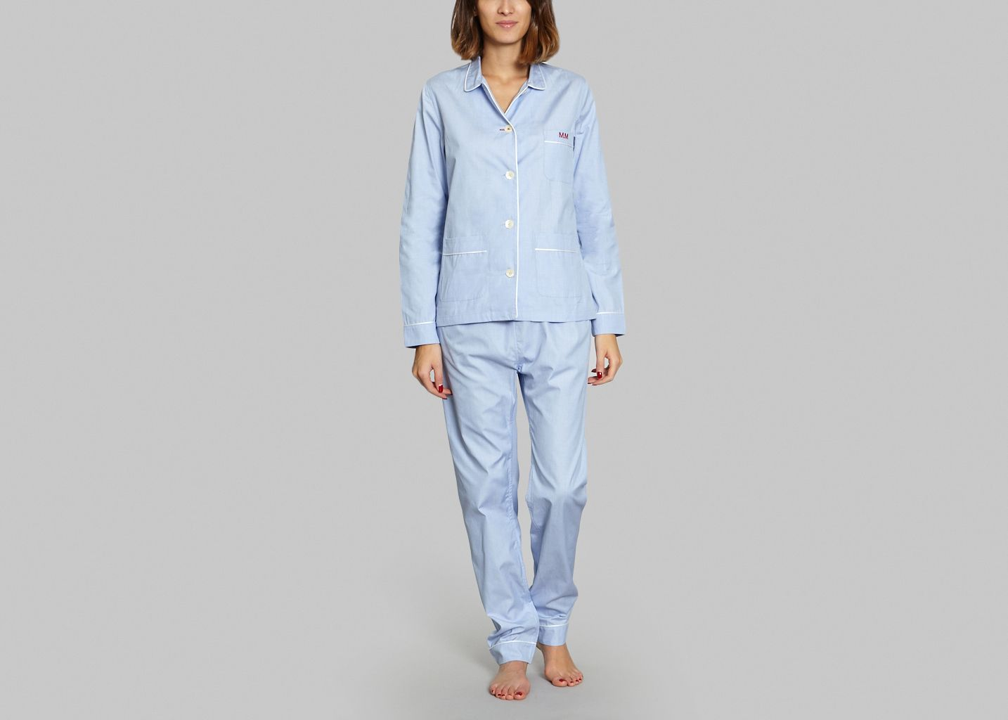 pyjama slim fit maison marcy bleu clair l 39 exception. Black Bedroom Furniture Sets. Home Design Ideas