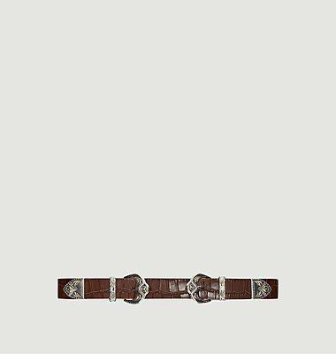 Ariona Ledergürtel mit Kroko-Effekt und doppelter Schnalle