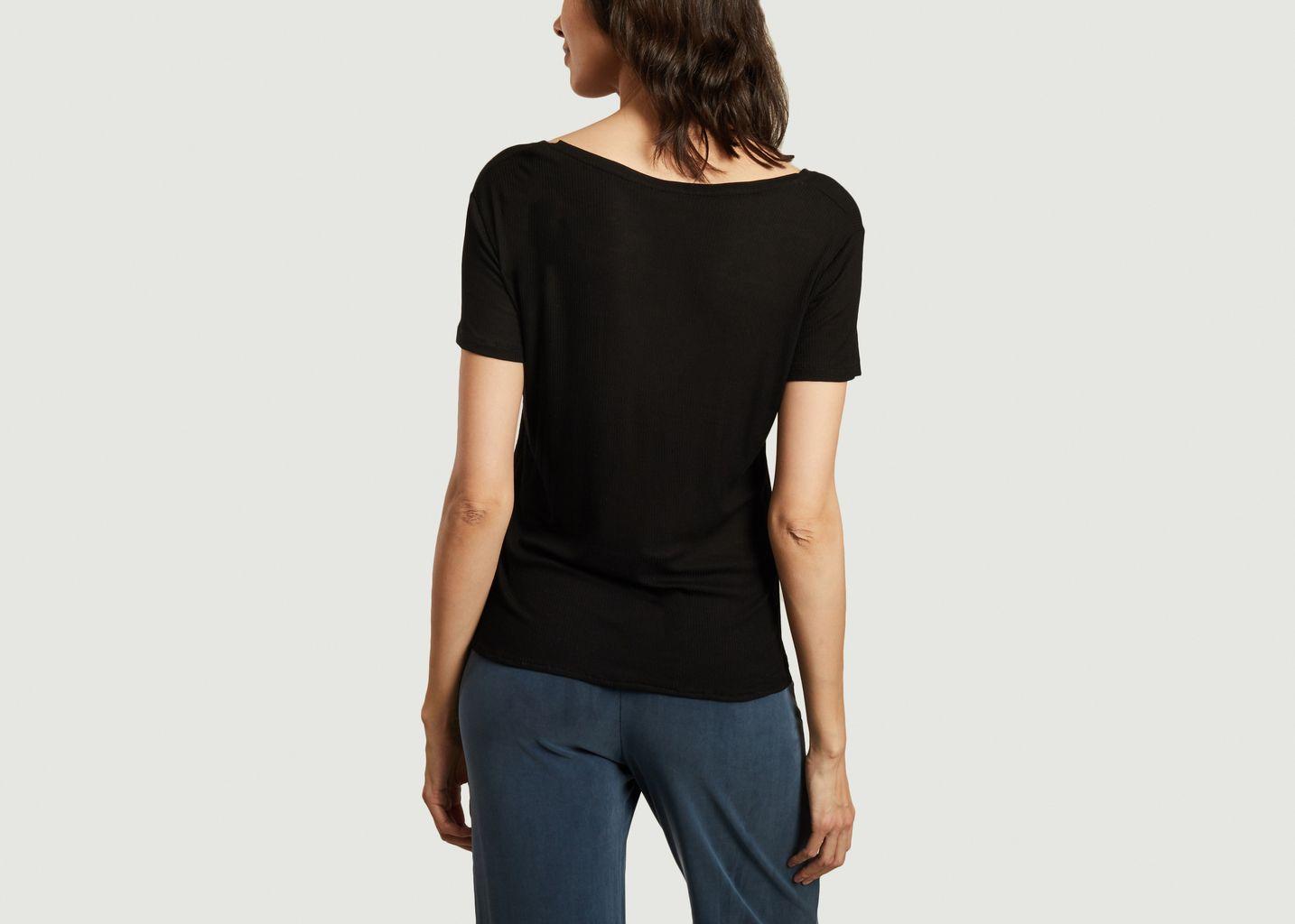 T-shirt en maille fine col V - Majestic Filatures