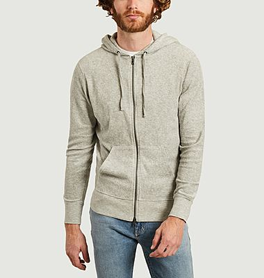 Cotton and modal zipped hoodie