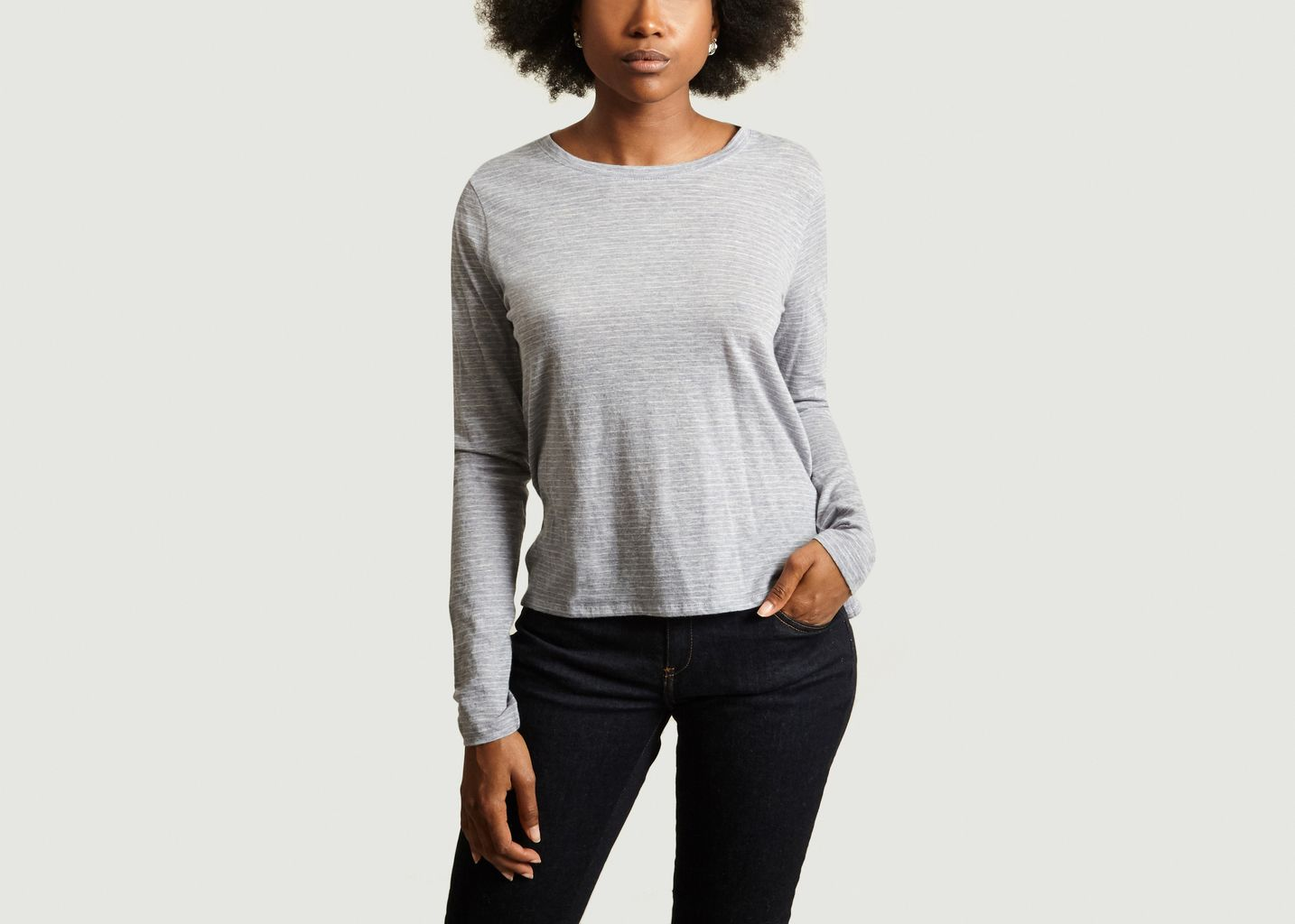 Tshirt Rayé Manches Longues Col rond  - Majestic Filatures