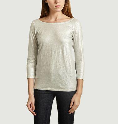 T-Shirt Métallisé Boutons au Dos