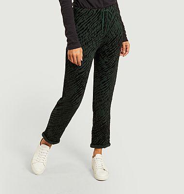 Pantalon en velours motif zèbre