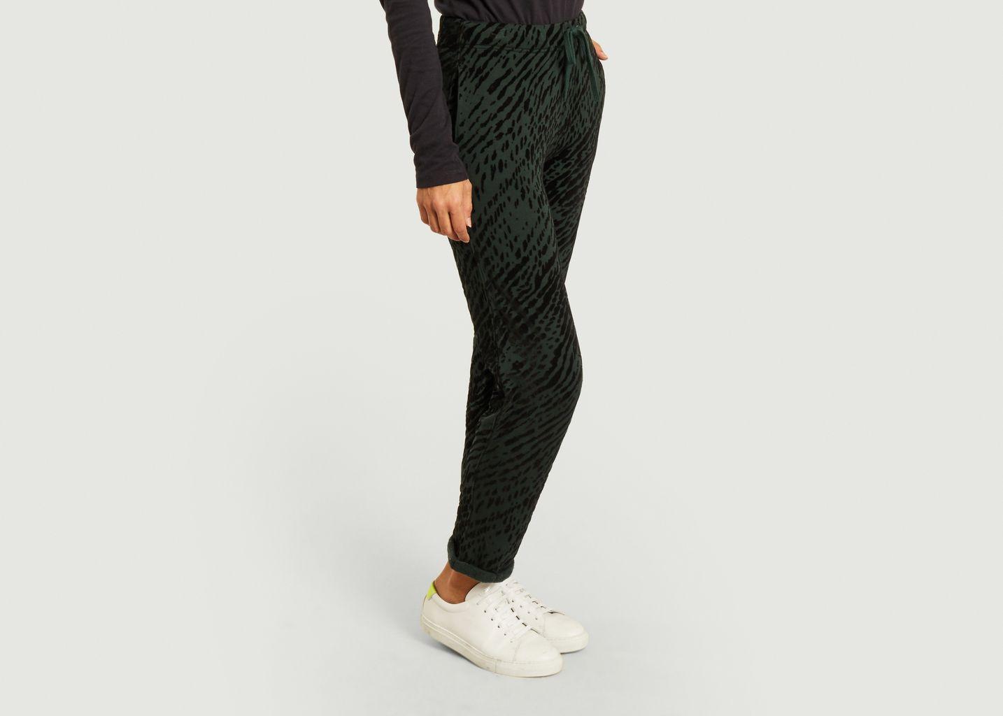 Pantalon en velours motif zèbre - Majestic Filatures