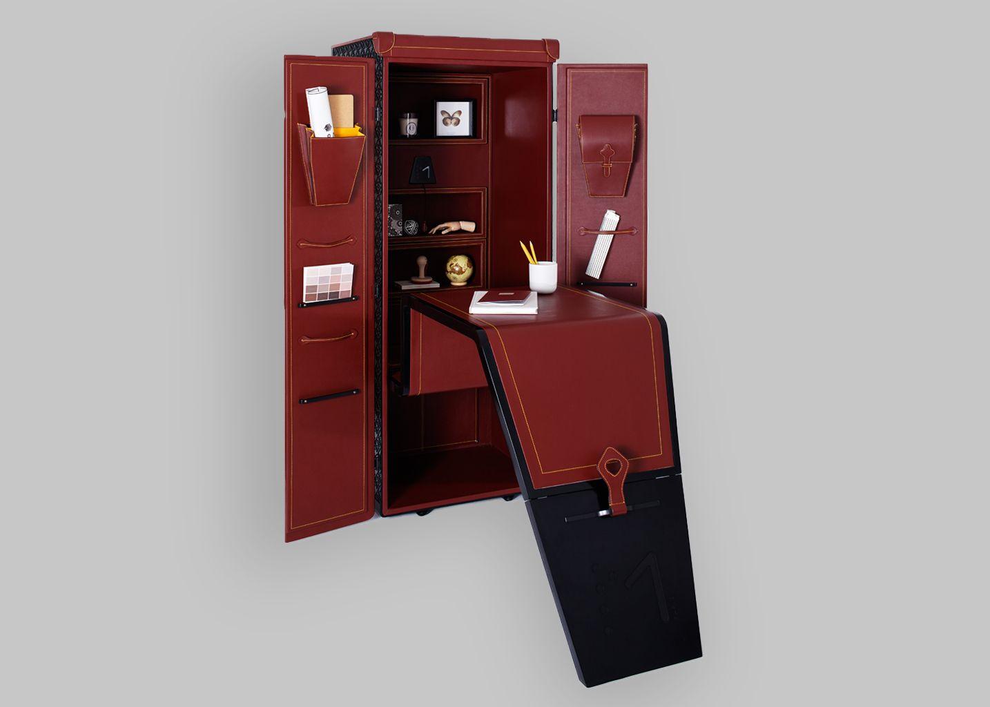 malle bureau maltier le malletier marron l 39 exception. Black Bedroom Furniture Sets. Home Design Ideas