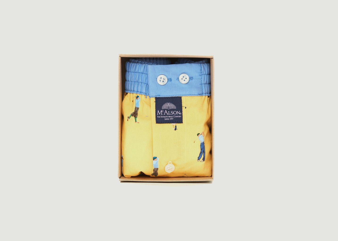 Caleçon imprimé golfeurs en coton - Mc Alson
