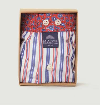 Striped Boxer Shorts With Flowers