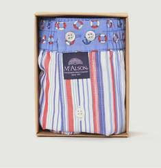 Striped Boxer Shorts With Anchors And Lifebuoys