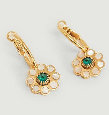 Boucles d'oreilles créoles nacre et cristal Swarovski Venezia