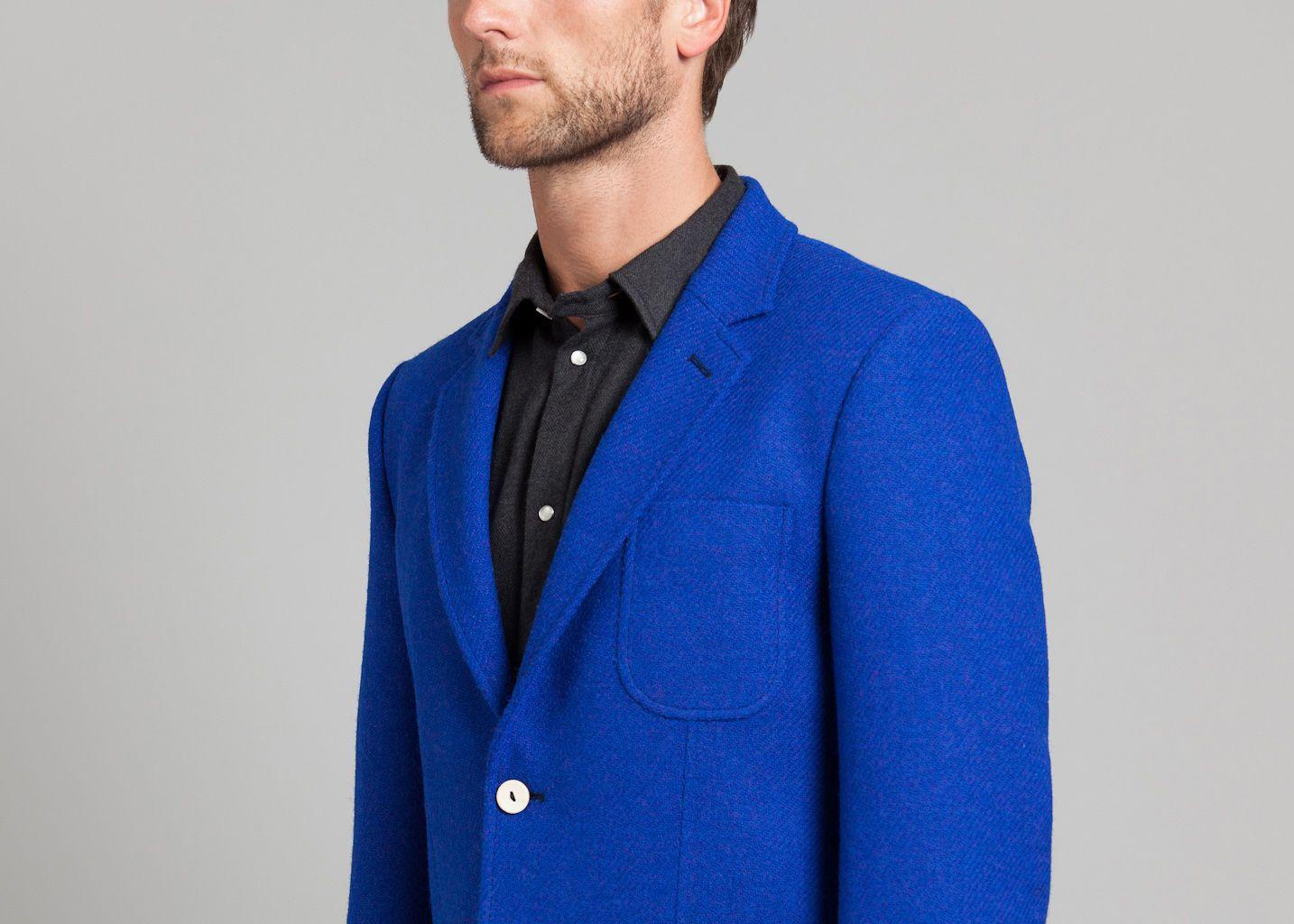 veste harris tweed melindagloss bleu lectrique l 39 exception. Black Bedroom Furniture Sets. Home Design Ideas