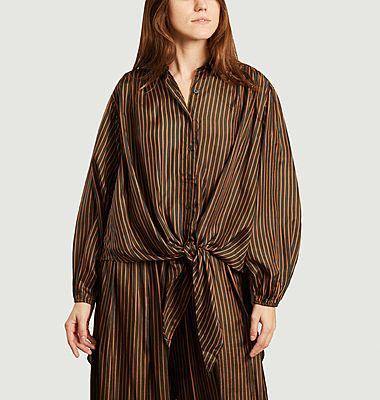 Striped silk oversize shirt