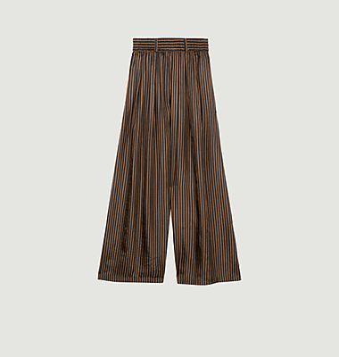 Pantalon large en soie rayée