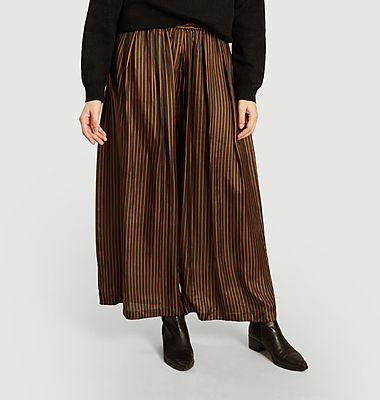 Wide striped silk pants