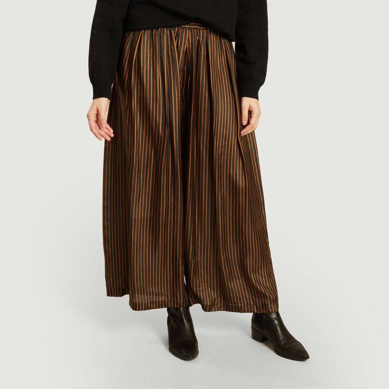 Pantalon large en soie rayée - Mes Demoiselles