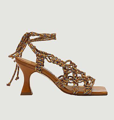 Sandales en cuir et textile Stephanie