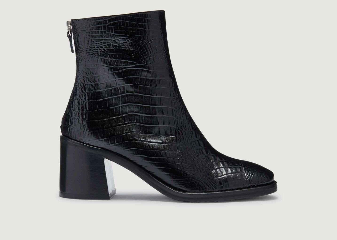 Bottines Cybil Black Croc Glossy - Miista