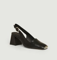 Canar sling-back sandals with metallic tip