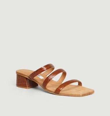 Sandales en cuir motif croco Linley Clay