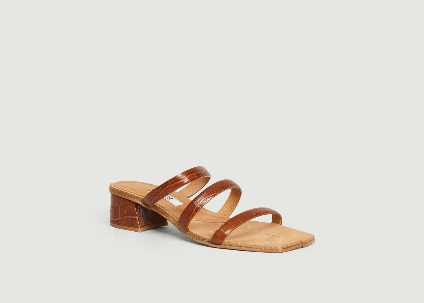 Sandales en cuir motif croco Linley Clay - Miista
