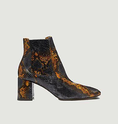 Boots en cuir façon serpent Beta Umber