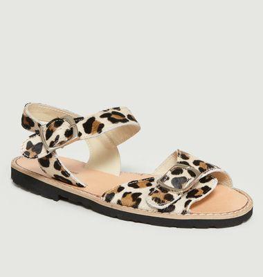 Sandales à Boucles Avarca en Cuir Façon Léopard