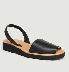 Avarca Platja Black Leather Sandals