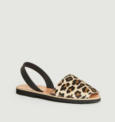 Sandales en cuir Avarca Léopard