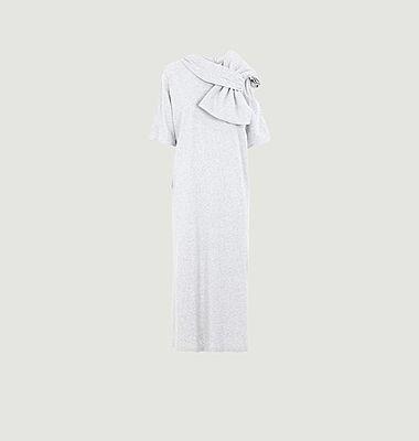 Robe longue manches courtes en jersey avec grand nœud