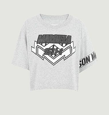 T-shirt cropped imprimé siglé motocross