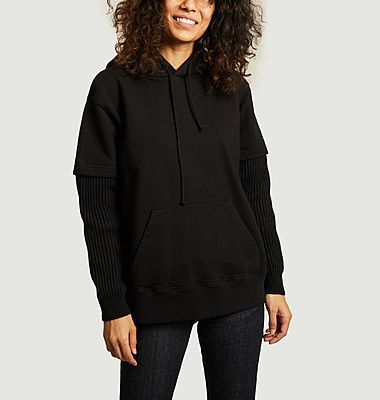 Cotton hoodie with ribbed sleeves