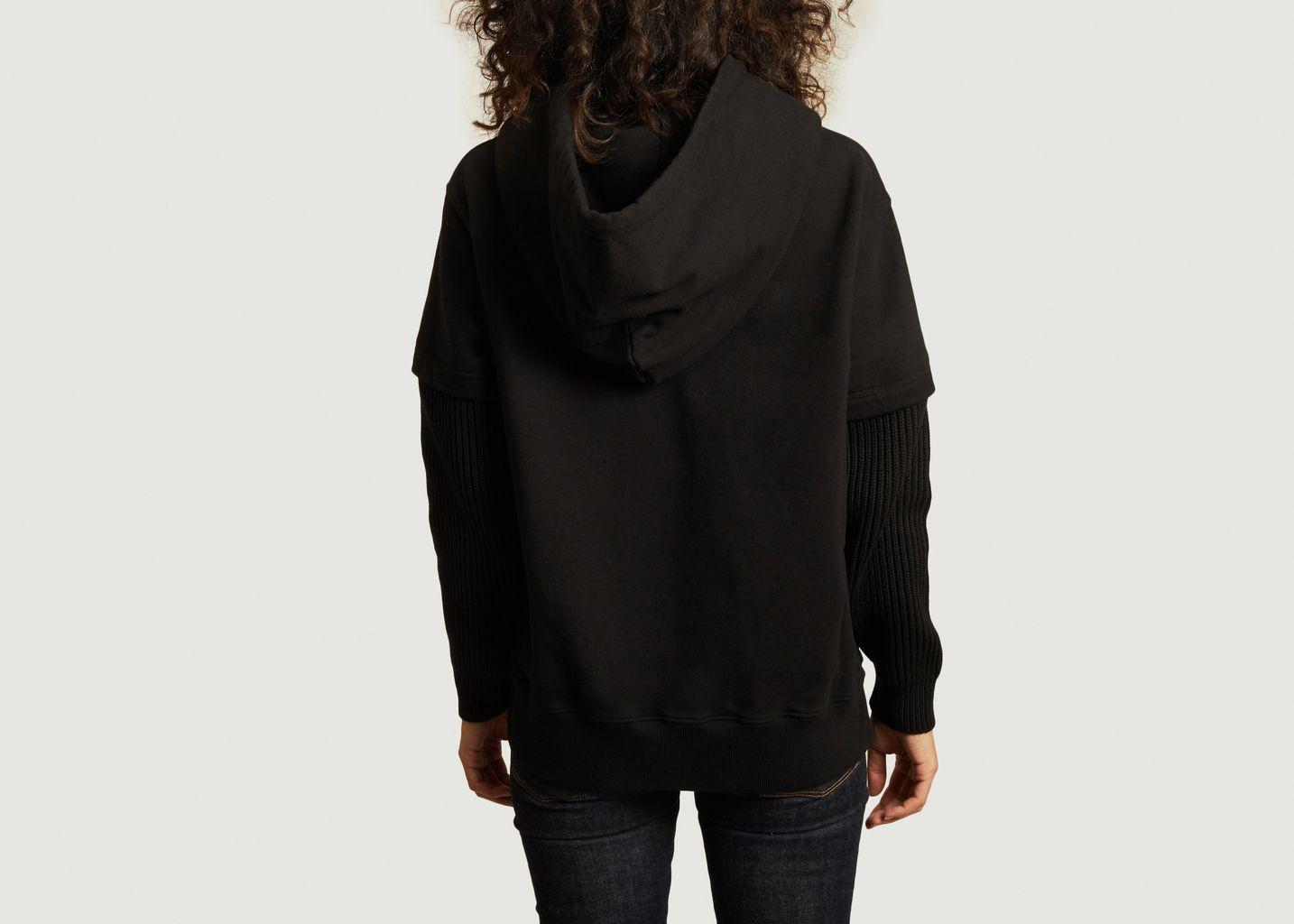 Hoodie en coton avec manches côtelées - MM6 Maison Margiela