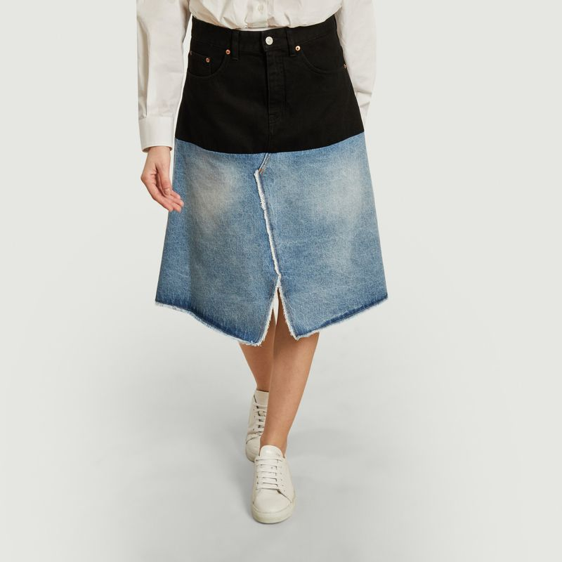 Jupe mi-longue en jean bicolore - MM6 Maison Margiela