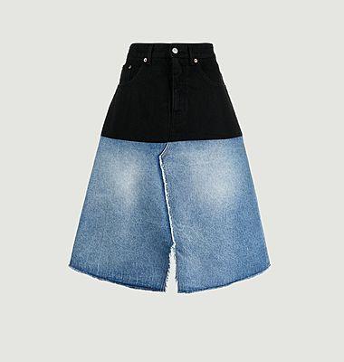 Jupe mi-longue en jean bicolore