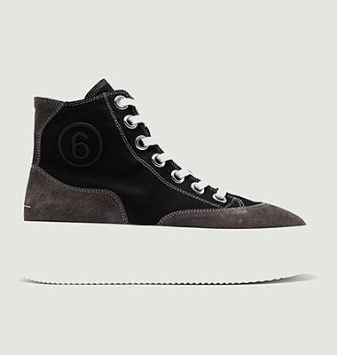 Sneakers montantes en coton et cuir suédé à plateforme
