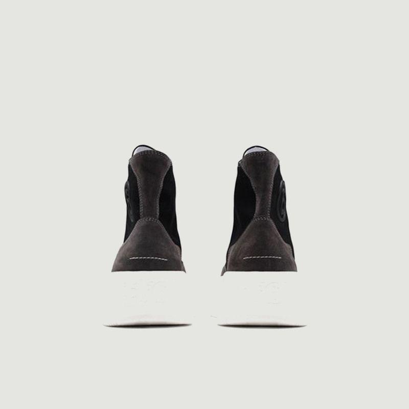 Sneakers montantes en coton et cuir suédé à plateforme - MM6 Maison Margiela