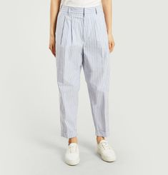 Pantalon Rayé Crop