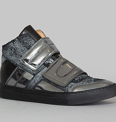 Sneakers Cuir Craquelé Effet Miroir