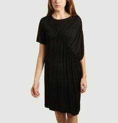 T-shirt dress with pleated detail