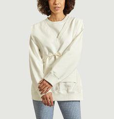 Structured sweatshirt with tie detail