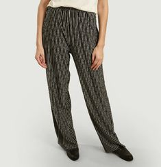 Wide pants with striped print