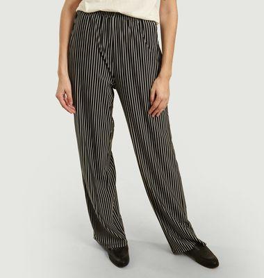 Pantalon large à imprimé rayé