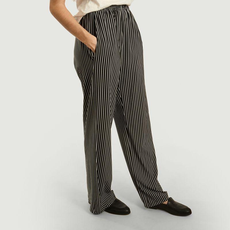 Pantalon large à imprimé rayé - MM6 Maison Margiela