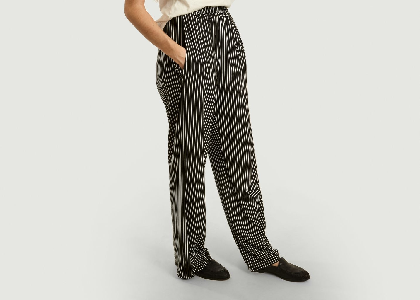 Pantalon large à imprimé rayé - MM6
