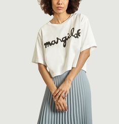 Cropped t-shirt with logo print