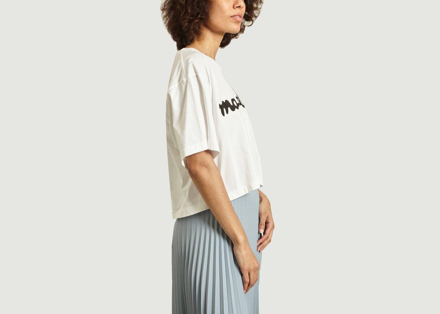 T-shirt crop à imprimé logo - MM6