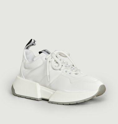 Sneakers compensées à tissu brillant