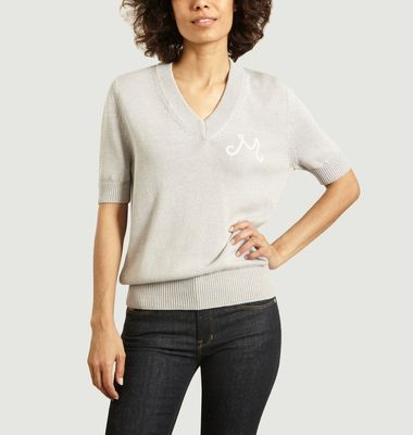 Short-sleeved cotton V-neck sweater