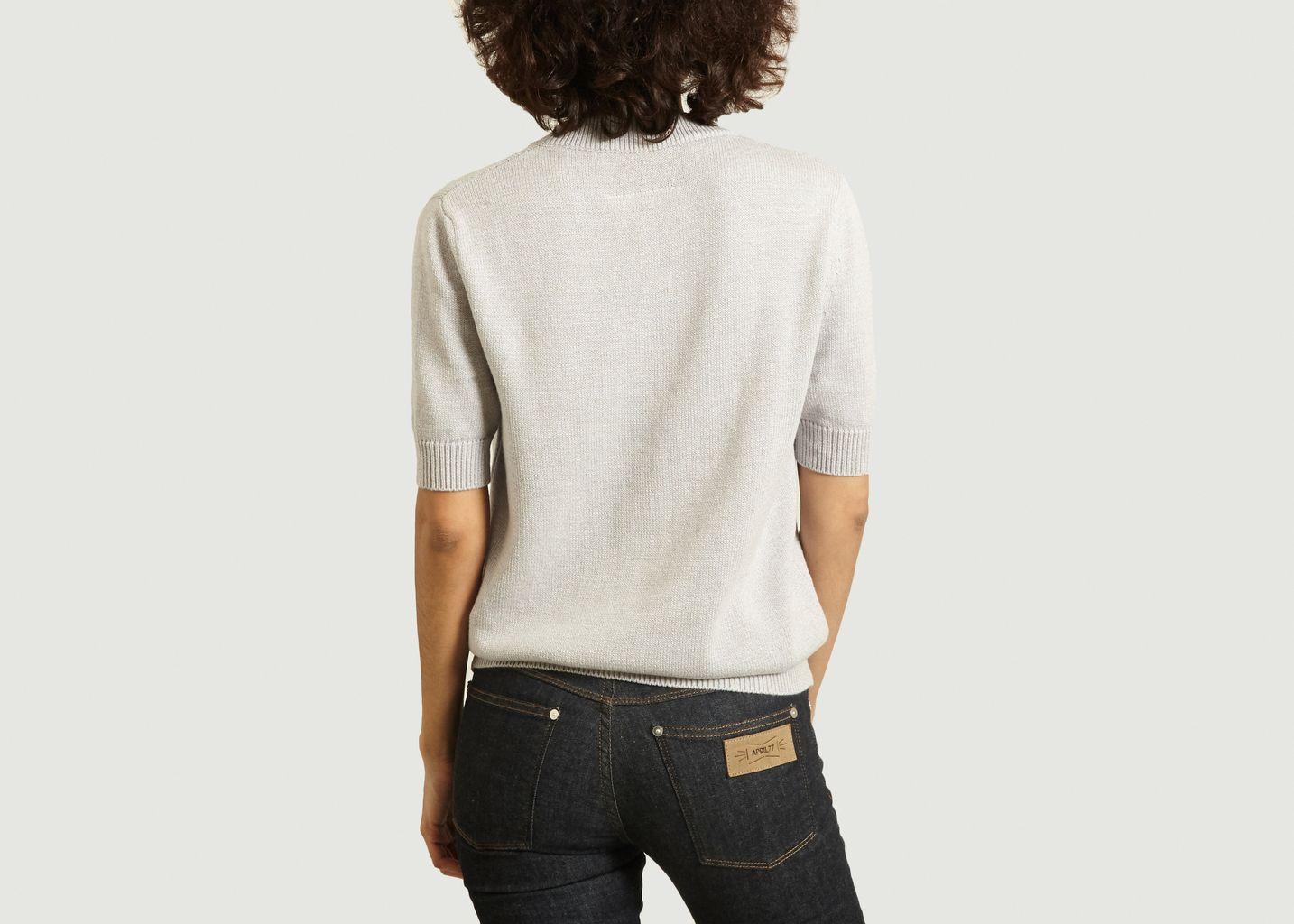 Pull manches courtes en coton à col V - MM6