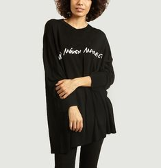 Long oversize sweater with contrasting logo print