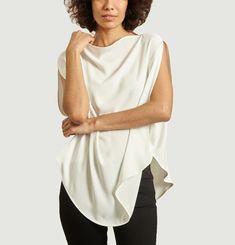 Oversized blouse with square neckline